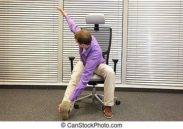 gesunder lebensstil, in, büro- arbeit