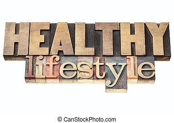 gesunder lebensstil, in, holz, art