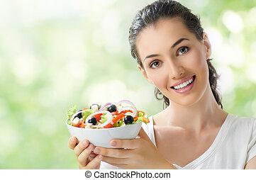 gesundes essen, essende