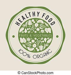 gesundes essen, etikett