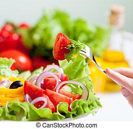 gesundes essen, frisch, salat, essende