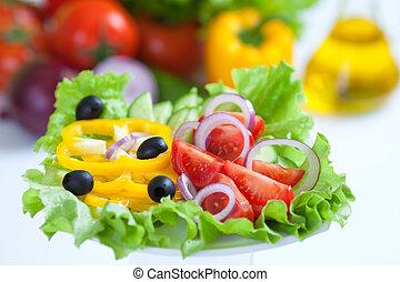 gesundes essen, gemüse, salat, frisch