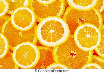 gesundes essen, hintergrund., zitrone, und, orange.