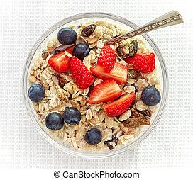 gesundes frühstück, schüssel muesli, mit, milch