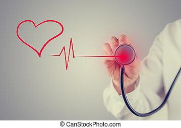gesundes herz, und, kardiologie, begriff