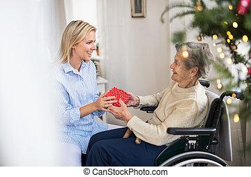 gesundheit besucher, und, ältere frau, in, rollstuhl, mit, a, geschenk, hause, an, weihnachten.
