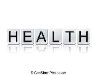 gesundheit, freigestellt, gekachelt, briefe, begriff, und, thema