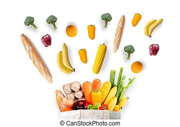 gesundheit nahrung, fruechte, und, gemüse, in, supermarkt, lebensmitteleinkäufe, begriff