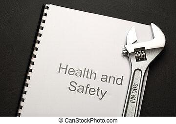 gesundheit sicherheit, kassa, mit, schraubenschlüssel