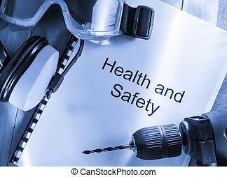 gesundheit sicherheit, kassa, mit, schwimmbrille, bohrmaschiene, und, kopfhörer