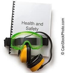 gesundheit sicherheit, kassa, mit, schwimmbrille, und, kopfhörer