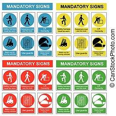 gesundheit, sicherheit, sammlung, zeichen