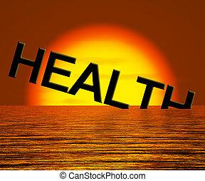 gesundheit, wort, sinken, ausstellung, ungesund, oder,...