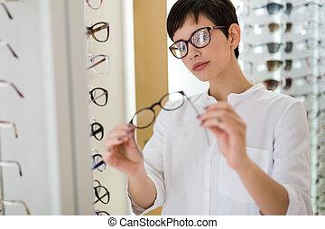 gesundheitspflege, sehvermögen, und, anblick-konzept, -,...