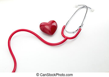 gesundheitspflege, stethoskop, mit, herz