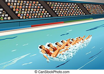 gesynchroniseerd, competitie, zwemmen