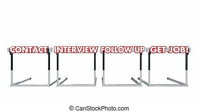 Get a Job Contact Interview Follow Up Hurdles 3d Illustration