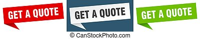 get a quote banner. get a quote speech bubble label set. get a quote sign