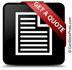 Get a quote (page icon) black square button red ribbon in corner