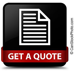 Get a quote (page icon) black square button red ribbon in middle