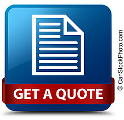 Get a quote (page icon) blue square button red ribbon in middle