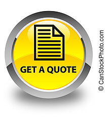 Get a quote (page icon) glossy yellow round button