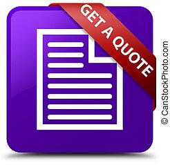 Get a quote (page icon) purple square button red ribbon in corner