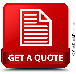 Get a quote (page icon) red square button red ribbon in middle