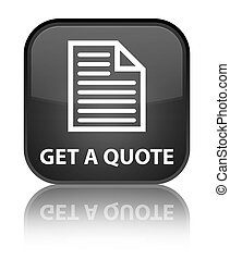 Get a quote (page icon) special black square button