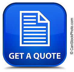 Get a quote (page icon) special blue square button