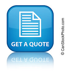 Get a quote (page icon) special cyan blue square button