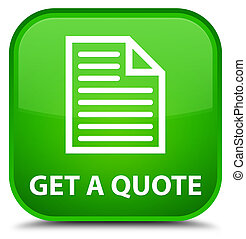 Get a quote (page icon) special green square button