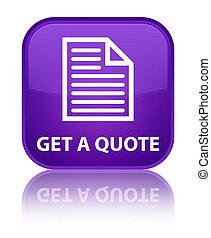 Get a quote (page icon) special purple square button
