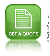 Get a quote (page icon) special soft green square button