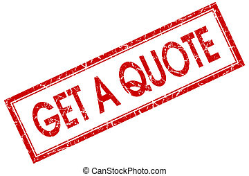 get a quote red square stamp isolated on white background