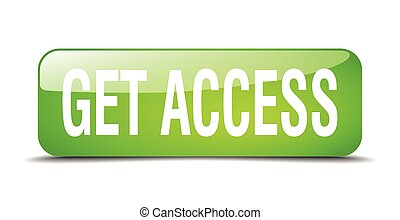 get access green square 3d realistic isolated web button