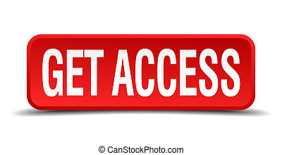 get access red 3d square button on white background