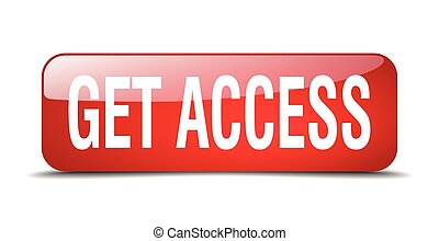 get access red square 3d realistic isolated web button