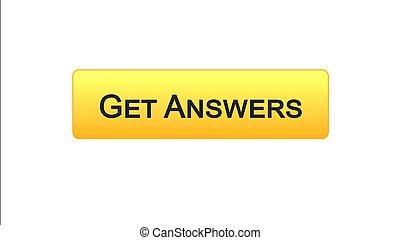 Get answers web interface button orange color, online consultation, site design