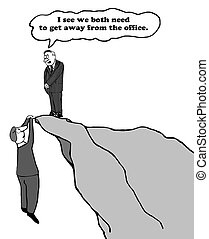 Get Away - Business cartoon about the need to get away from...
