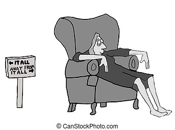 Get Away From It All - Cartoon of businesswoman relaxing at...
