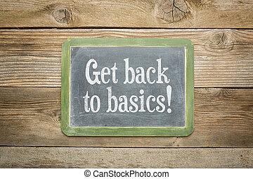 get back to basics on a slate blackboard against rustic ...