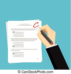 Get C for the exam. Checking in the answer of final exam concept. Score of test concept illustration.