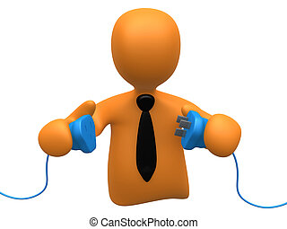 Get Connected - 3d person ready to connect to power cables .