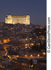 Get dark in the Alcazar of Toledo, Castilla la Mancha, Spain