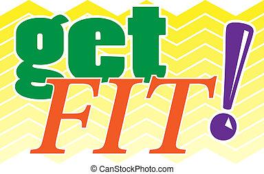 Get Fit! illustration - Get Fit! Illustration with colorful...