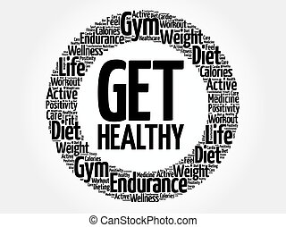 Get Healthy circle word cloud, health concept