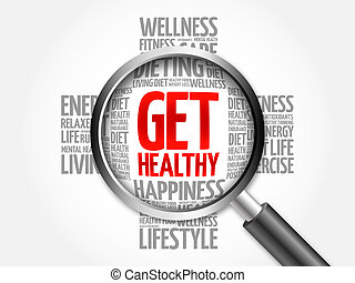 Get Healthy word cloud with magnifying glass