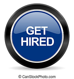 get hired icon - blue circle web button
