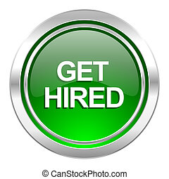 get hired icon, green button